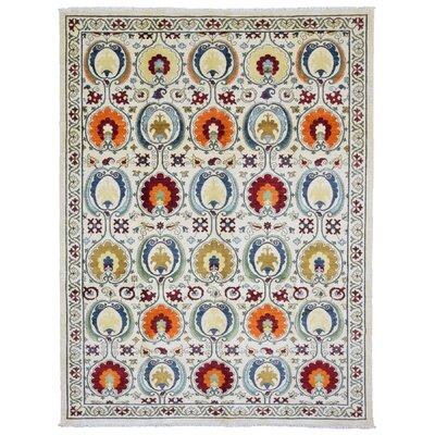 One-of-a-Kind Evert Modern Design Oriental Hand Woven Wool Beige/Orange Area Rug