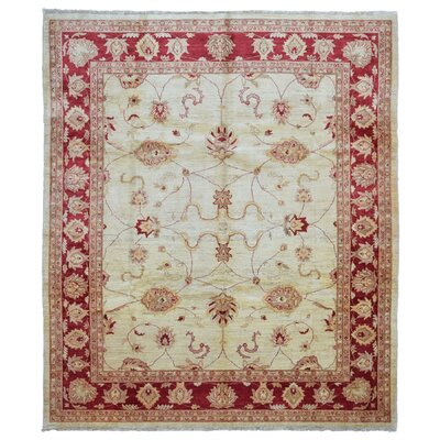 One-of-a-Kind Evert Peshawar Oriental Hand Woven Wool Beige/Red Area Rug