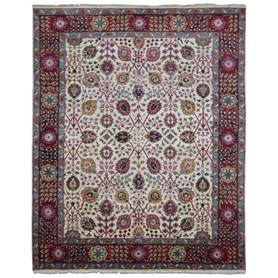 One-of-a-Kind Tanesha Oriental Hand Woven Wool Beige/Red Area Rug
