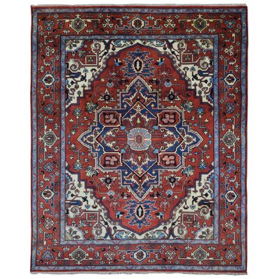 One-of-a-Kind Tanesha Oriental Hand Woven Wool Red/Blue Area Rug