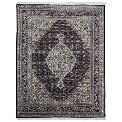 One-of-a-Kind Avonmore Hand Woven Silk Beige/Black Area Rug