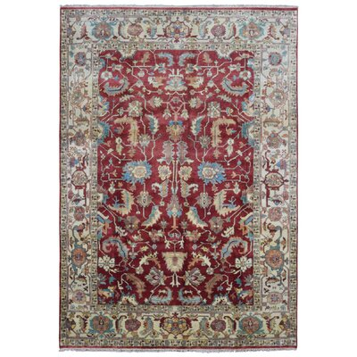 One-of-a-Kind Tanesha Oriental Hand Woven Wool Red/Beige Area Rug