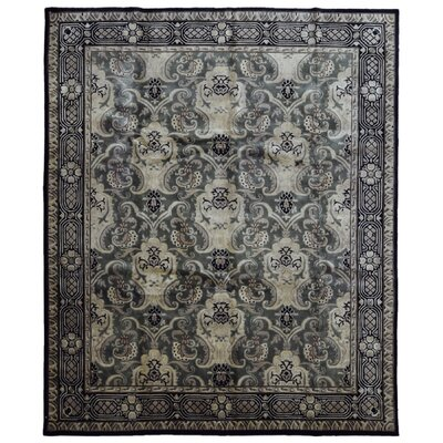 One-of-a-Kind Bourdeau Oriental Hand Woven Wool Gray/Black Area Rug