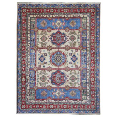 One-of-a-Kind Evert Kazak Oriental Hand Woven Wool Blue/Beige Area Rug
