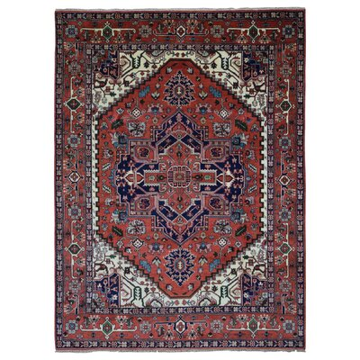 One-of-a-Kind Roselle Oriental Hand Woven Wool Red Area Rug