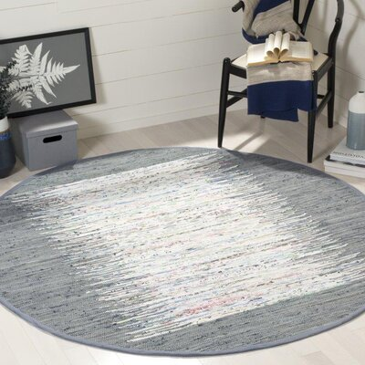 Jameson Contemporary Hand-Woven Ivory/Gray Area Rug Rug Size: Round 6