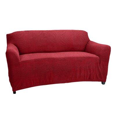 Loveseat Box Cushion Slipcover Upholstery: Burgundy