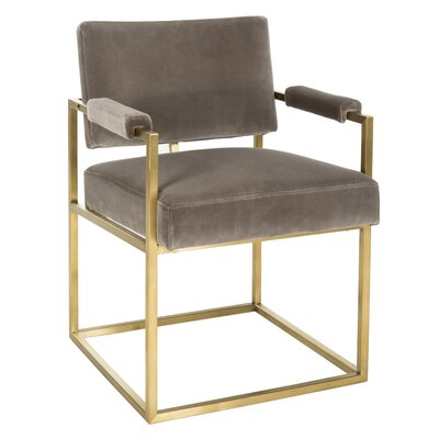 Elderberry Velvet Armchair Upholstery: Giotto Mouse, Finish: Gold