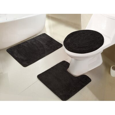 Gidney 3 Piece Bath Rug Set Color: Black