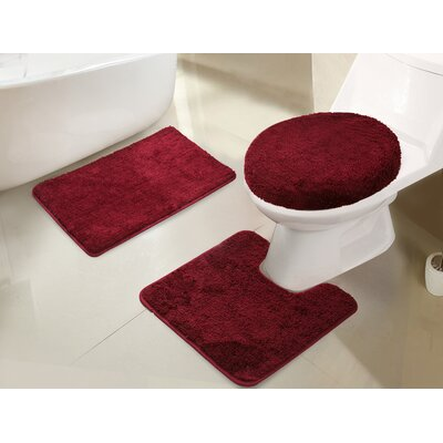 Gidney 3 Piece Bath Rug Set Color: Burgundy