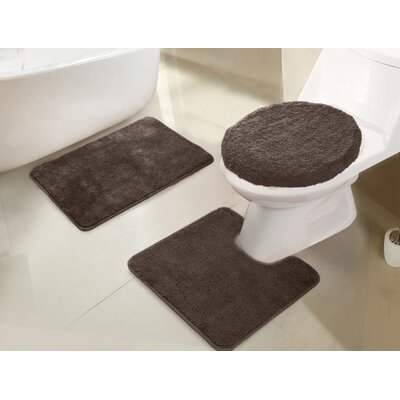 Gidney 3 Piece Bath Rug Set Color: Chocolate