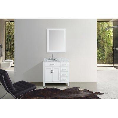 Weatherford 37 Single Bathroom Vanity Set with Mirror Base Finish: White