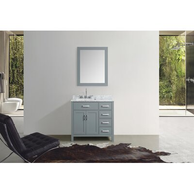 Weatherford 37 Single Bathroom Vanity Set with Mirror Base Finish: Gray