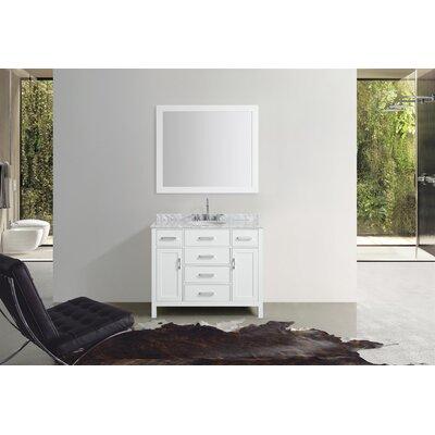 Weatherford 43 Single Bathroom Vanity Set with Mirror Base Finish: White