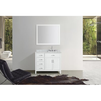 Weatherford 43 Single Bathroom Vanity Set with Mirror Base Finish: White
