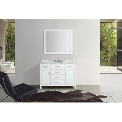 Weatherford 49 Single Bathroom Vanity Set with Mirror Base Finish: White