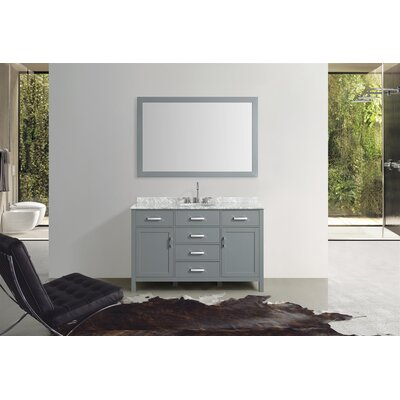 Weatherford 55 Single Bathroom Vanity Set with Mirror Base Finish: Gray