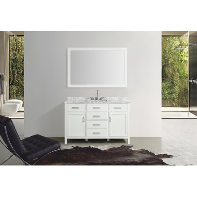 Weatherford 55 Single Bathroom Vanity Set with Mirror Base Finish: White