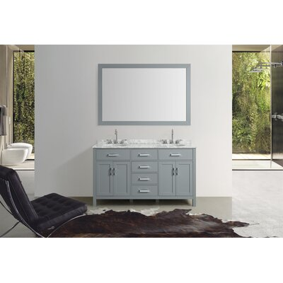 Weatherford 61 Double Bathroom Vanity Set with Mirror Base Finish: Gray