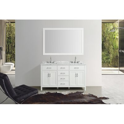 Weatherford 61 Double Bathroom Vanity Set with Mirror Base Finish: White