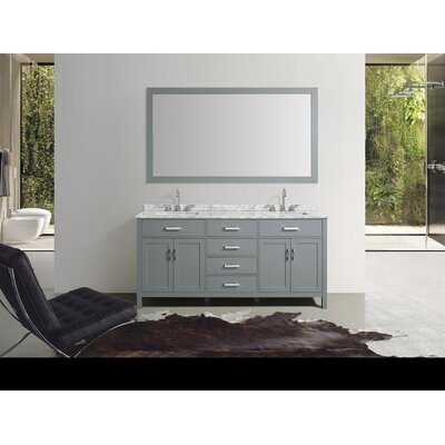 Weatherford 73 Double Bathroom Vanity Set with Mirror Base Finish: Gray