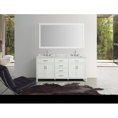 Weatherford 73 Double Bathroom Vanity Set with Mirror Base Finish: White