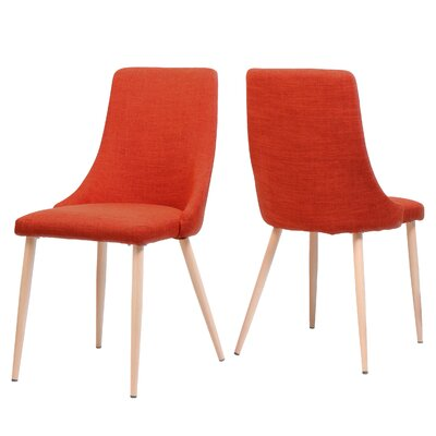 Sarita Upholstered Dining Chair Upholstery Color: Orange