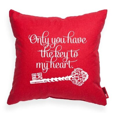 Pettis Only You Have the Key Throw Pillow Pillow Cover Color: Red