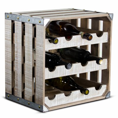 Dowe Rustic Wood Crate Square 12 Bottle Floor Wine Glass Rack