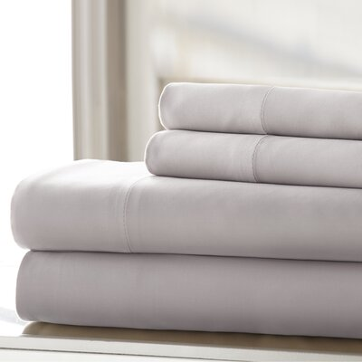 Germana Wrinkle Free 400 Thread Count 100% Cotton Sheet Set Size: California King, Color: Silver