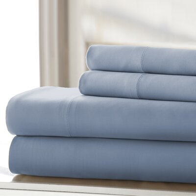 Germana Wrinkle Free 400 Thread Count 100% Cotton Sheet Set Size: California King, Color: Blue