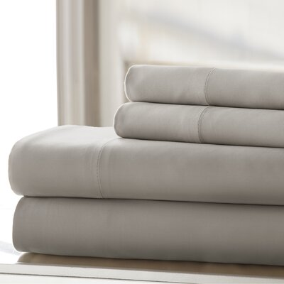 Germana Wrinkle Free 400 Thread Count 100% Cotton Sheet Set Size: Full, Color: Platinum