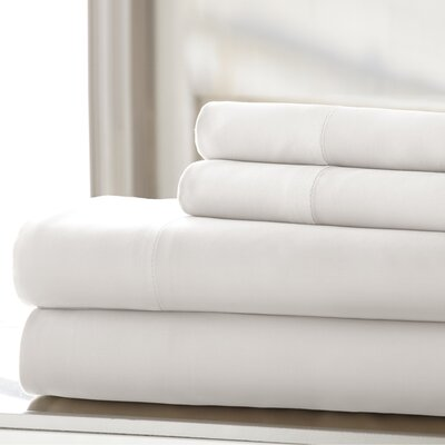 Germana Wrinkle Free 400 Thread Count 100% Cotton Sheet Set Size: Full, Color: White