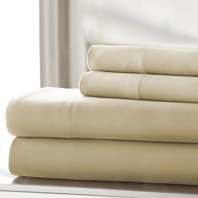Germana Wrinkle Free 400 Thread Count 100% Cotton Sheet Set Size: King, Color: Sand