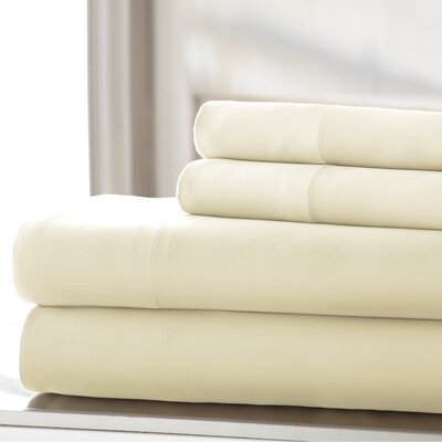 Germana Wrinkle Free 400 Thread Count 100% Cotton Sheet Set Size: Full, Color: Ivory