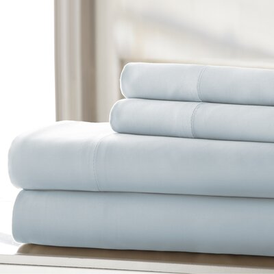 Germana Wrinkle Free 400 Thread Count 100% Cotton Sheet Set Size: King, Color: Light Blue