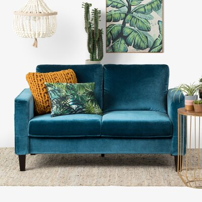 Live-It Cozy Standard Loveseat Upholstery: Velvet Blue