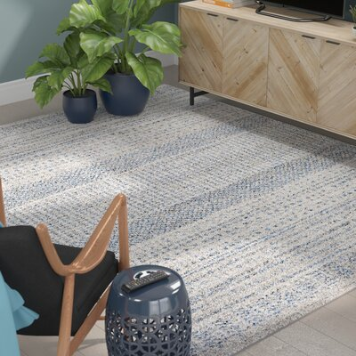Ponce Medium Gray/Bright Blue Area Rug Rug Size: Rectangle 8 x 10