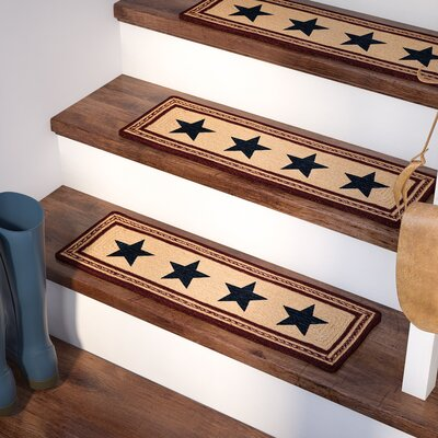 Brunswick Blue/Beige/Red Stair Tread Rug Size: 0.7 x 23
