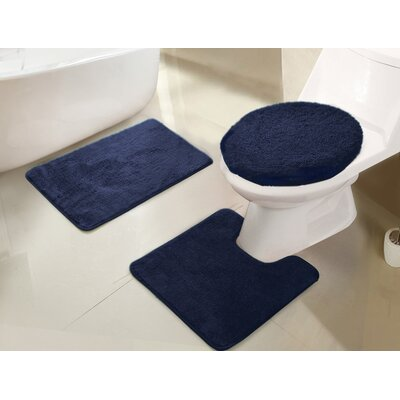 Gidney 3 Piece Bath Rug Set Color: Navy