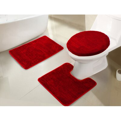Gidney 3 Piece Bath Rug Set Color: Red