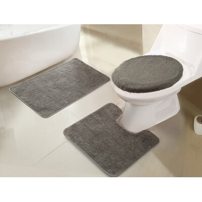 Gidney 3 Piece Bath Rug Set Color: Silver