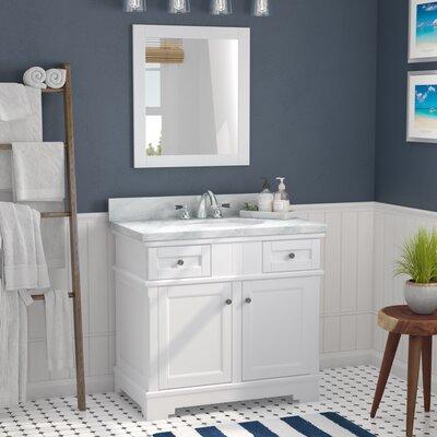 Rhine Solid Wood 37 Single Bathroom Vanity Set with Mirror Base Finish: White