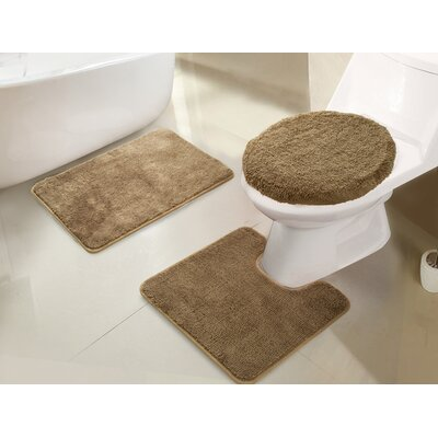 Gidney 3 Piece Bath Rug Set Color: Taupe