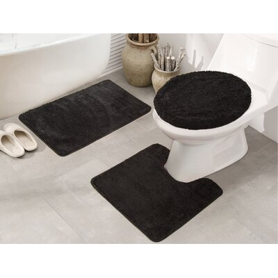 Cherrelle 3 Piece Bath Rug Set Color: Black