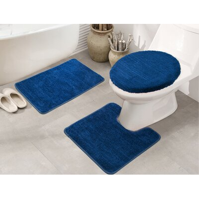 Cherrelle 3 Piece Bath Rug Set Color: Blue
