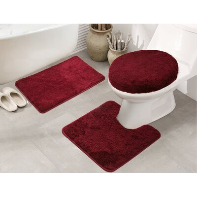 Cherrelle 3 Piece Bath Rug Set Color: Burgundy