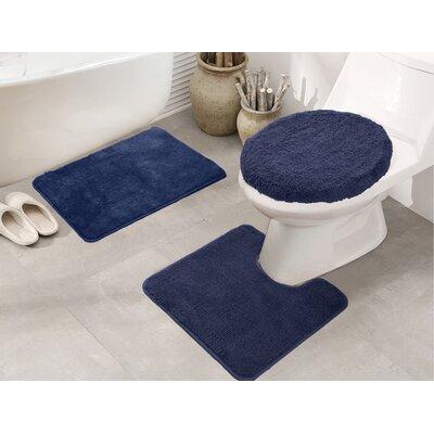 Cherrelle 3 Piece Bath Rug Set Color: Navy Blue