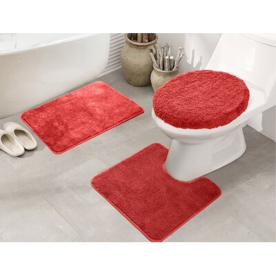 Cherrelle 3 Piece Bath Rug Set Color: Red