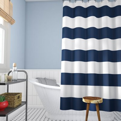 Berwyn Fabric Shower Curtain Color: Navy